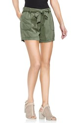 Vince Camuto Tie Waist Twill Short Canopy Green
