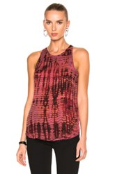 Raquel Allegra Racer Tank In Ombre And Tie Dye Pink Red Ombre And Tie Dye Pink Red