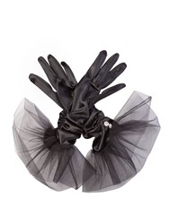 Cornelia James Tatiana Satin Gloves Black