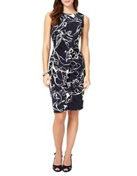 Phase Eight Clara Mae Printed Ruched Dress Navy Ivory