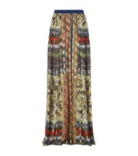 Alberta Ferretti Metallic Chiffon Maxi Skirt Female Blue