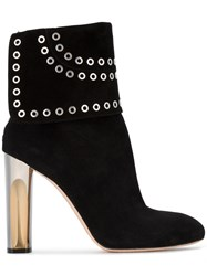 Alexander Mcqueen Fold Over Eyelet Ankle Boots Leather Suede Black