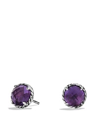 David Yurman Chatelaine Earrings With Amethyst Silver Purple