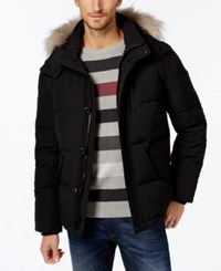 Calvin Klein Men's Faux Fur Lined Hooded Coat Black