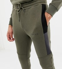 Nicce London Skinny Jogger In Khaki With Side Panels Exclusive To Asos Green