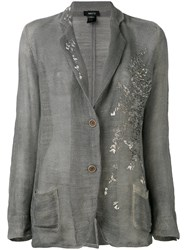 Avant Toi Embroidered Blazer Women Cotton Linen Flax S Grey
