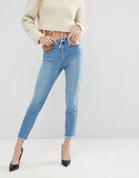 Asos Farleigh High Waist Slim Mom Jeans In Prince Mid Wash With Cut Out Details Mid Wash Blue