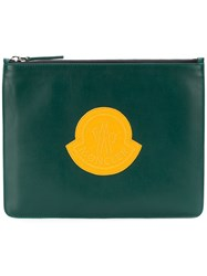 Moncler Logo Embroidered Clutch Green