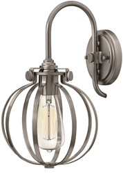 Hinkley Congress Sconce Cage Shade 3118 Globe An Antique Nickel Gray