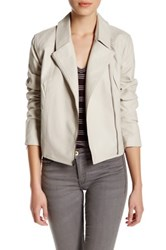 Cupcakes And Cashmere Faux Leather Zip Long Sleeve Jacket Beige