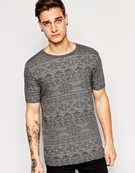 Asos T Shirt With All Over Aztec Print In Jacquard Charcoal