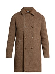 A.P.C. Time Double Breasted Wool Blend Coat Brown