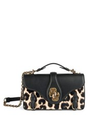 Bottega Veneta City Knot Leopard Print Calf Hair And Leather Shoulder Bag Black Multi