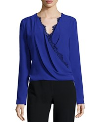J. Mendel Long Sleeve Lace Trim Blouse Imperial Blue