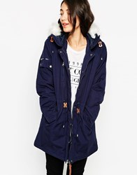 Vero Moda Parka With Faux Fur Hood And Front Pockets Blackiris