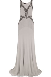 Amanda Wakeley Embellished Silk Chiffon Gown Gray