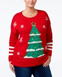 It's Our Time Trendy Plus Size Tree Light Up Holiday Sweater Christmas Red