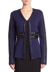 Altuzarra Copperhead Leather Trim Wool Cardigan Navy