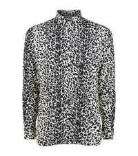 Saint Laurent Leopard Print Shirt Male Black