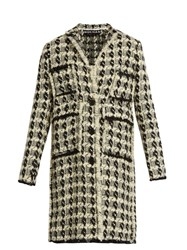 Rochas Wool Blend Tweed Coat White Black