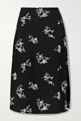 Maje Embroidered Crepe Midi Skirt Black