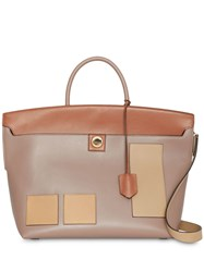 Burberry Leather Society Top Handle Bag Neutrals