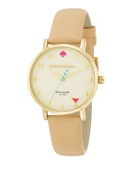 Kate Spade Novelty Metro Happy Hour Goldtone Stainless Steel Enamel And Vachetta Leather Strap Watch Rose Gold