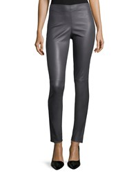 Joseph Lamb Leather Leggings Slate Grey