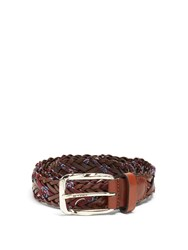 Etro Woven Embroidered Twill And Leather Belt Brown Multi