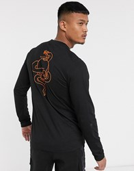 Bolongaro Trevor Long Sleeve T Shirt With Neon Snake Skull Back Print Black