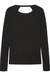 Diane Von Furstenberg Kylee Open Back Merino Wool And Silk Blend Sweater Black