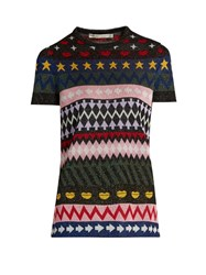 Mary Katrantzou Pedro Short Sleeved Motif Jacquard Sweater Multi