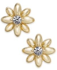 Charter Club Gold Tone Crystal And Imitation Pearl Flower Stud Earrings Created For Macy's Gold Cryst