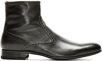 Paul Smith Black Brogued Lenny Ankle Boots