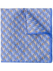 Canali Printed Pocket Square Scarf Blue