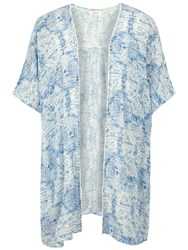 Fat Face Covean Etched Ethnic Cover Up Ivory Blue