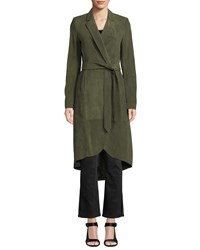 Alice Olivia Karley Notched Collar Suede Wrap Coat Green