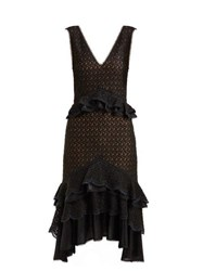 Jonathan Simkhai Peplum Lace Midi Dress Black