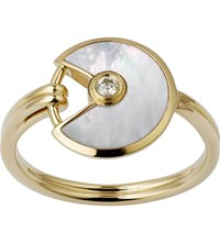 Cartier Amulette De 18Ct Yellow Gold Mother Of Pearl And Diamond Ring