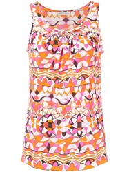 Emilio Pucci Signature Print Tank Top Silk Yellow Orange