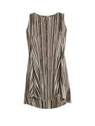Issey Miyake Striped Pleated Sleeveless Top Black White