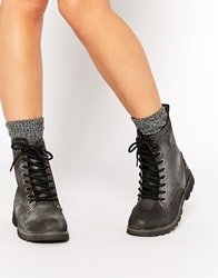 Bellfield Lingfield Leather Chunky Lace Up Ankle Boots Black