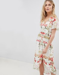 Hope And Ivy Button Front Flutter Sleeve Midi Dress In Mirrored Floral Print White Print Multi