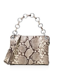 Michael Michael Kors Gianna Convertible Medium Snake Embossed Leather Messenger Natural Silver
