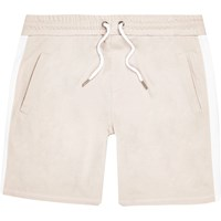 River Island Mens Ecru Stripe Casual Shorts Beige