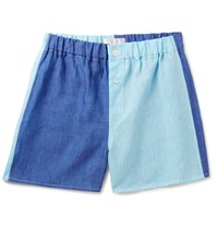Emma Willis Two Tone Linen Boxer Shorts Blue