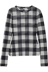 Rag And Bone Checked Stretch Jersey Top Charcoal