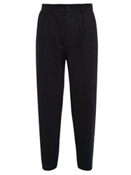 Raey Wide Leg Pleated Cotton Trousers Navy