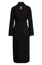 Vince Camuto Stetch Crepe Trench Coat Rich Black