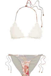 Zimmermann Mercer Crocheted Cotton And Stretch Jersey Triangle Bikini White